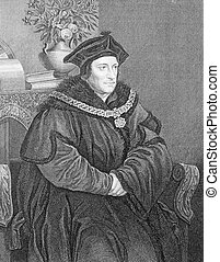Thomas More (1478-1535) on engraving from the 1800s. English...
