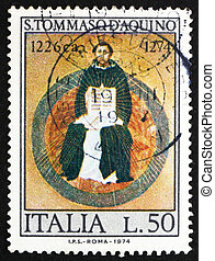 thomas, muerte, italia, 700th, estampilla, traini, 1974, -, 1974:, filósofo, aquinas, escolástico, impreso, francesco, hacia, aniversario, s., exposiciones