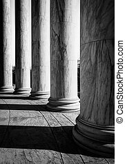 thomas, washington, dc., colonnes, commémoratif, jefferson