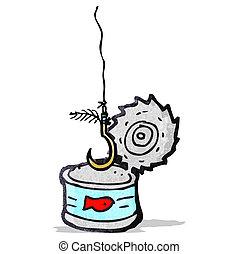 thon, crochet, fish, boîte, dessin animé