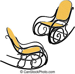 Thonet rocking chair - Rocking chair silhouette in two...