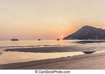 Thai fishing boats at sunrise