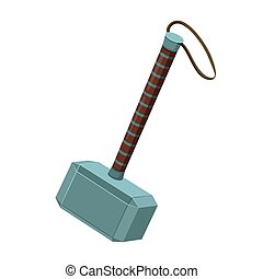 Thor hammer mjellnir mythical weapon of thunder god thor wielding.