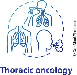 Thoracic oncology concept icon. Lung airways inflammatory ...