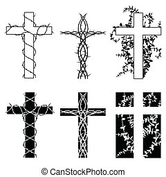 Thorn crosses - Crosses with thorn vines in two styles