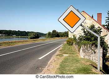 traffic sign thoroughfare on contry road along Loire river