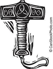 Thor's Hammer Mjolnir - Woodcut style image of the viking...