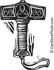 Thor's Hammer Mjolnir - Woodcut style image of the viking...