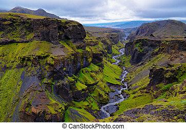 Thorsmork mountains canyon and river, near Skogar, Iceland -...