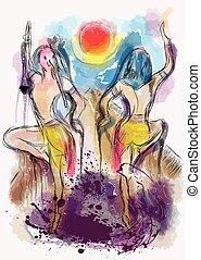 thoth, 鳥, dansing
