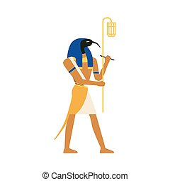 Thoth, God of Wisdom, Egyptian ancient culture vector Illustration