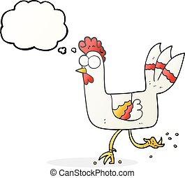 thought bubble cartoon chicken running