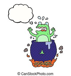 thought bubble cartoon funny halloween toad - freehand drawn...