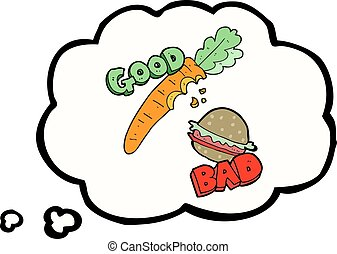 thought bubble cartoon good and bad food - freehand drawn...