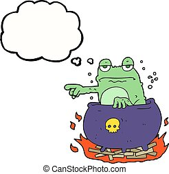 thought bubble cartoon halloween toad - freehand drawn...