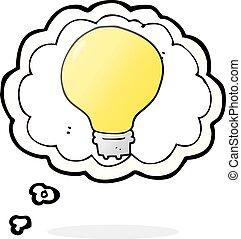 thought bubble cartoon light bulb