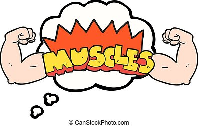 thought bubble cartoon muscles symbol - freehand drawn...