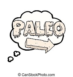 thought bubble cartoon paleo diet pointing arrow - freehand...