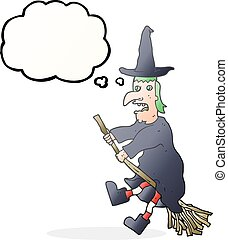 thought bubble cartoon witch flying on broom