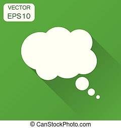 Thought bubble icon. Business concept speech bubble pictogram. Vector illustration on green background with long shadow.