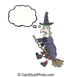 thought bubble textured cartoon witch flying on broom