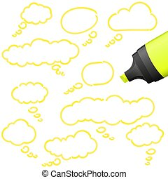 thought bubbles with highlighter - illustration of thought...