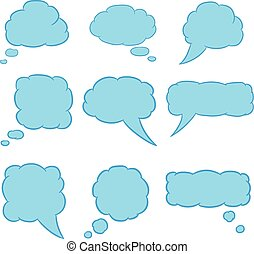 thought cloud set blue with trim of vector illustrations