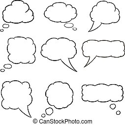 thought cloud set white of vector illustrations