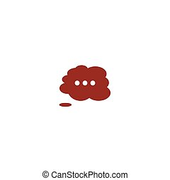 Thought cloud with lines flat vector icon