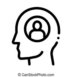 thought of one person icon vector outline illustration - ...