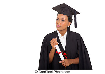 thoughtful african female graduate