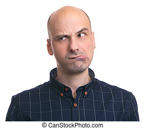 thoughtful bald man looking away isolated on white