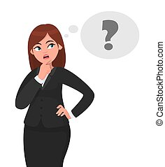 Thoughtful business woman is thinking, in the thought bubble question mark appearing. She is looking sideways and touching her face with a finger. Business woman concept illustration in vector.