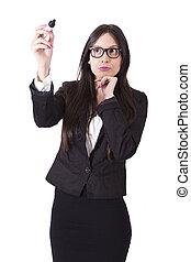 Thoughtful business woman writing