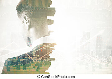 Thoughtful businessman with business chart