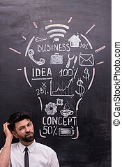 Thoughtful businessman with painted lightbulb on chalkboard