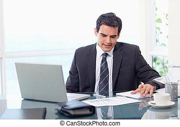 Thoughtful businessman working