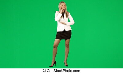 Thoughtful businesswoman against green screen footage