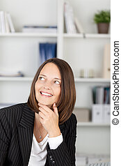 Thoughtful Businesswoman With Hand On Chin Looking Away