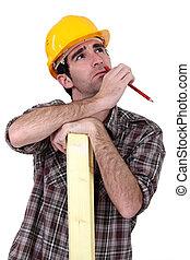 Thoughtful carpenter