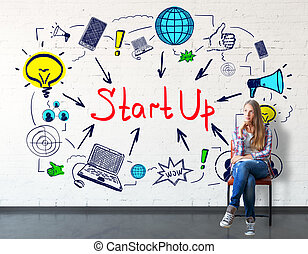 Start up concept - Thoughtful caucasian girl sitting on...