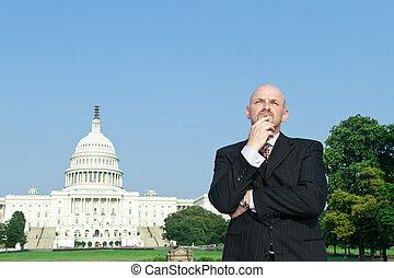 Thoughtful Caucasian Man Suit Standing US Capitol