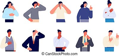 Thoughtful characters. Serious caucasian male, woman thinking portrait. Business person with seriously face, smart think or idea utter vector set