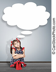 Thoughtful child girl thinking with thought bubble