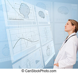 Thoughtful woman doctor looking at a medical new technology
