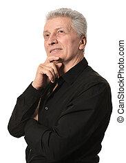 Thoughtful elder man on white background