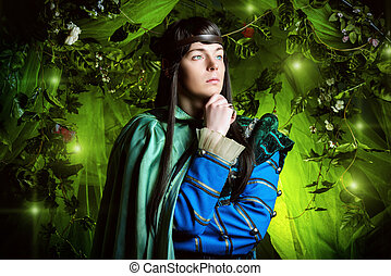 thoughtful elf - Noble fairy elf in the magic forest....