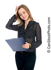 Thoughtful girl businessman in dark blouse isolated on a...
