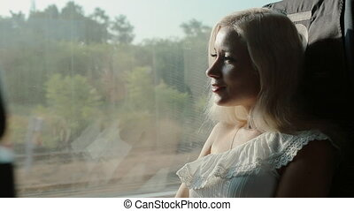 Thoughtful girl riding on a train