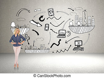 Thoughtful gorgeous blonde wearing classy clothes posing against brainstorm on the wall